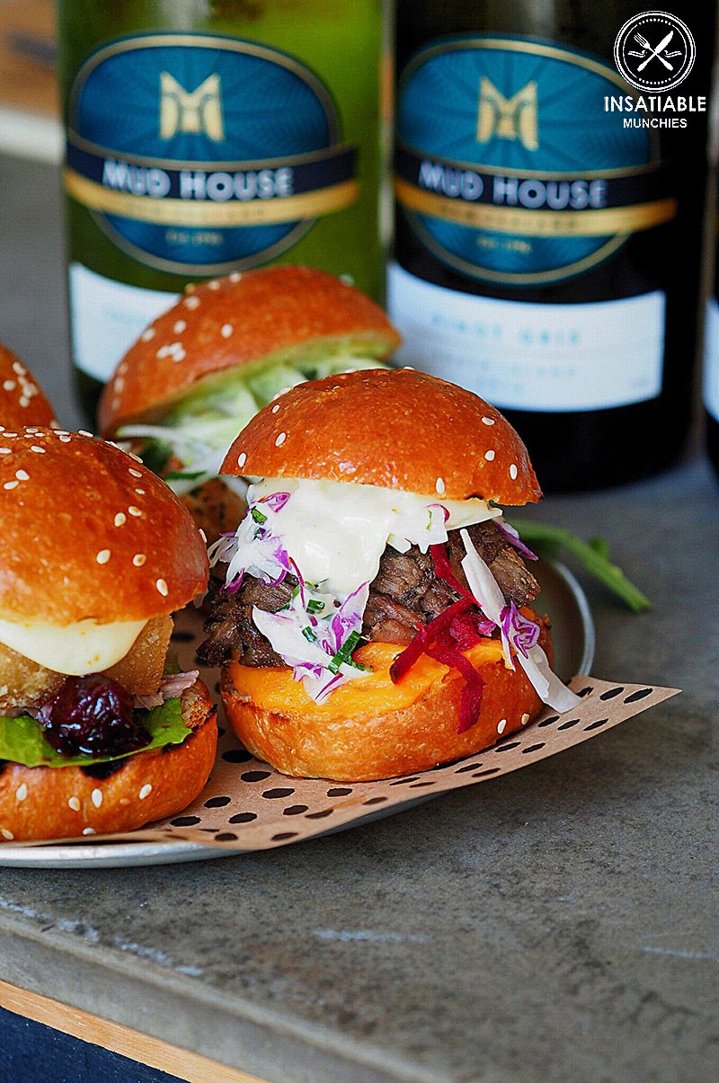 Review of Chur Burger and Mudhouse Wines: Slow Roasted Lamb Shoulder Burger, with sweet potato, pickled beetroot, and minted slaw