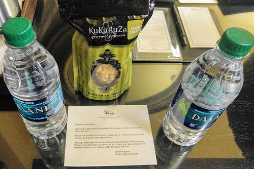 Welcome Gift Snack and Bottled Water at the Arctic Club Seattle