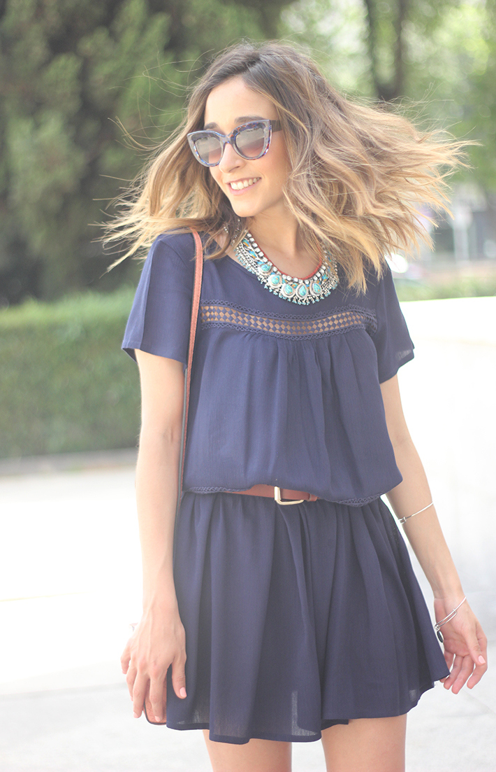 Blue dress Sheinside Wedges summer outfit20