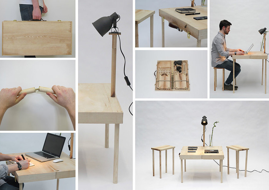 Boxed: suitcase-style table and chairs set