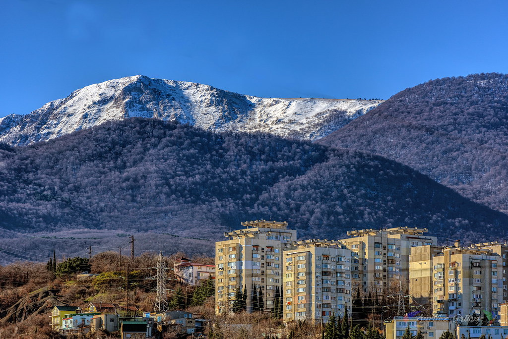 Mountain in winter day