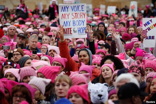 People gather for the Women's March in Washington. Shannon Stapleton/Reuters