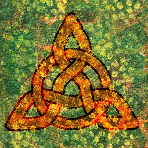 Digital collage featuring celtic knot
