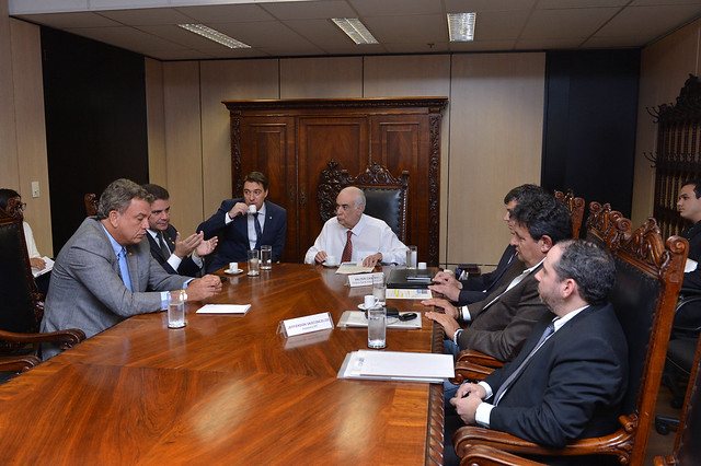 Gladson Cameli e senador Sérgio Petecão em audiência com o ministro Transportes, Antônio Carlos Rodrigues e diretores do Dnit. Pauta: Urgência na recuperação da BR-364.