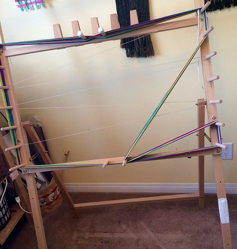 4m path for a 2m hand painted skein on a Saori warping board.
