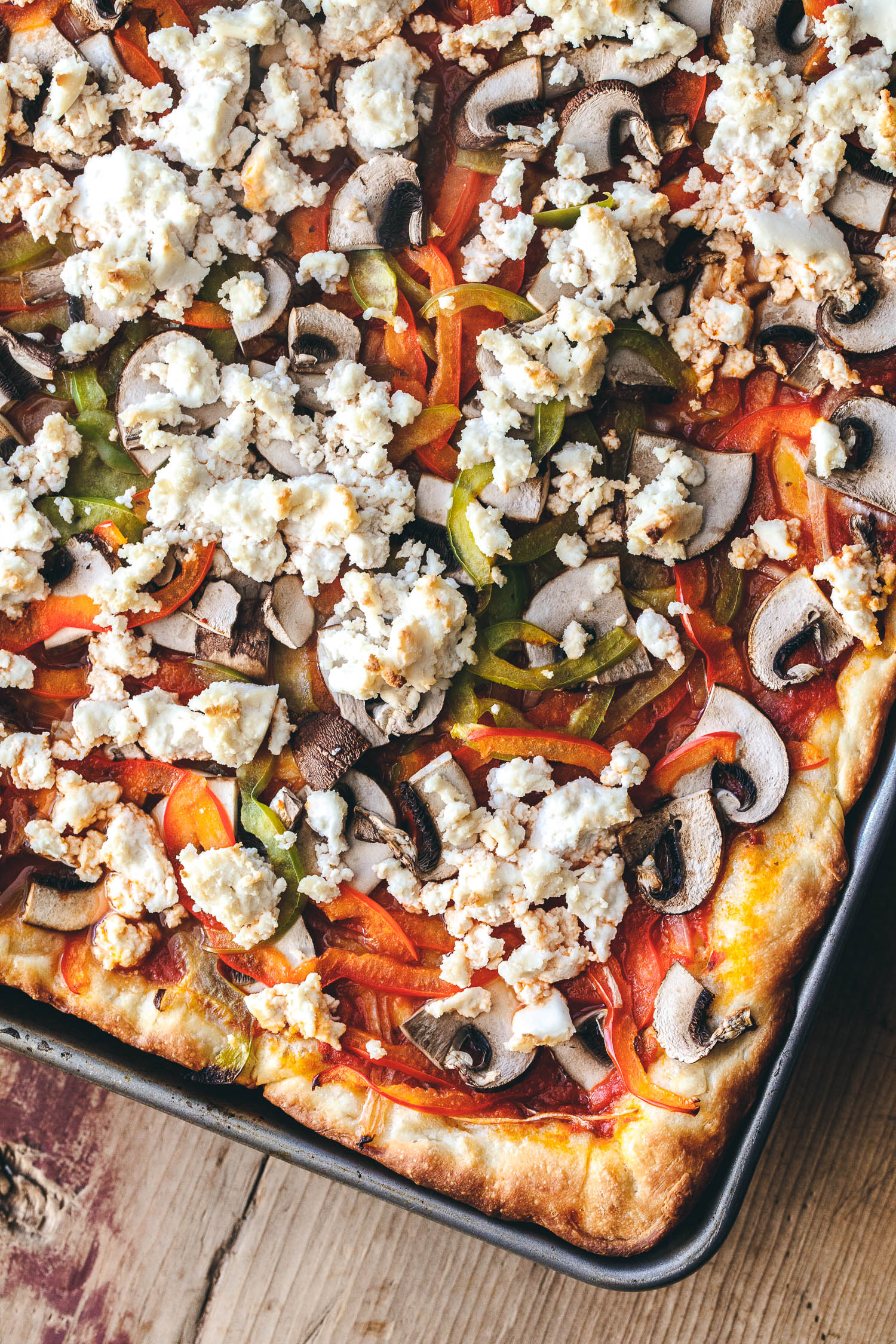 Vegan Deep Pizza with Kite Hill Ricotta