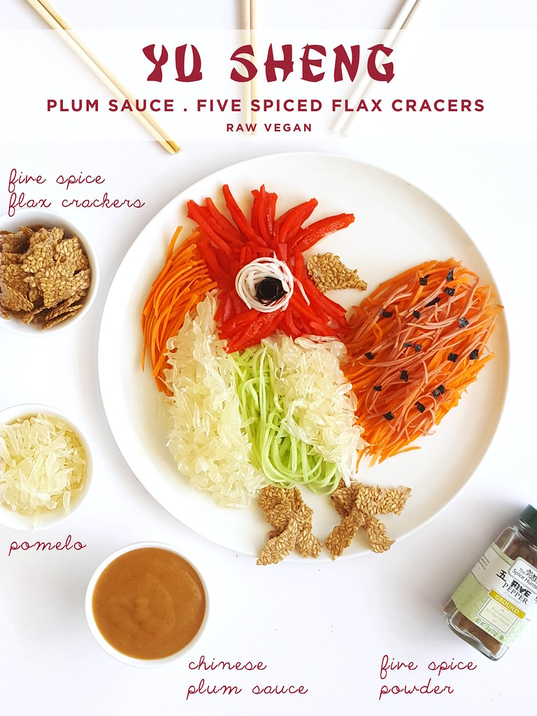 Raw Vegan Yu Sheng With Plum Sauce And Five Spiced Flax Crackers