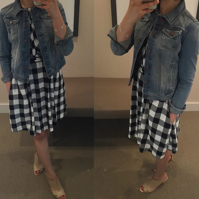 LOFT Gingham Gamine Dress, size XS regular LOFT Denim jacket in Western Moon Wash, size XXSP