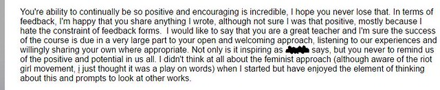 Feedback from a student on my Write Like A Grrrl! course!