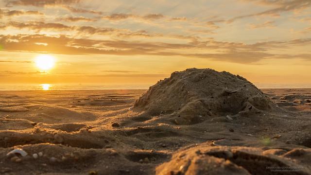 Sand castle remains at Sunrise