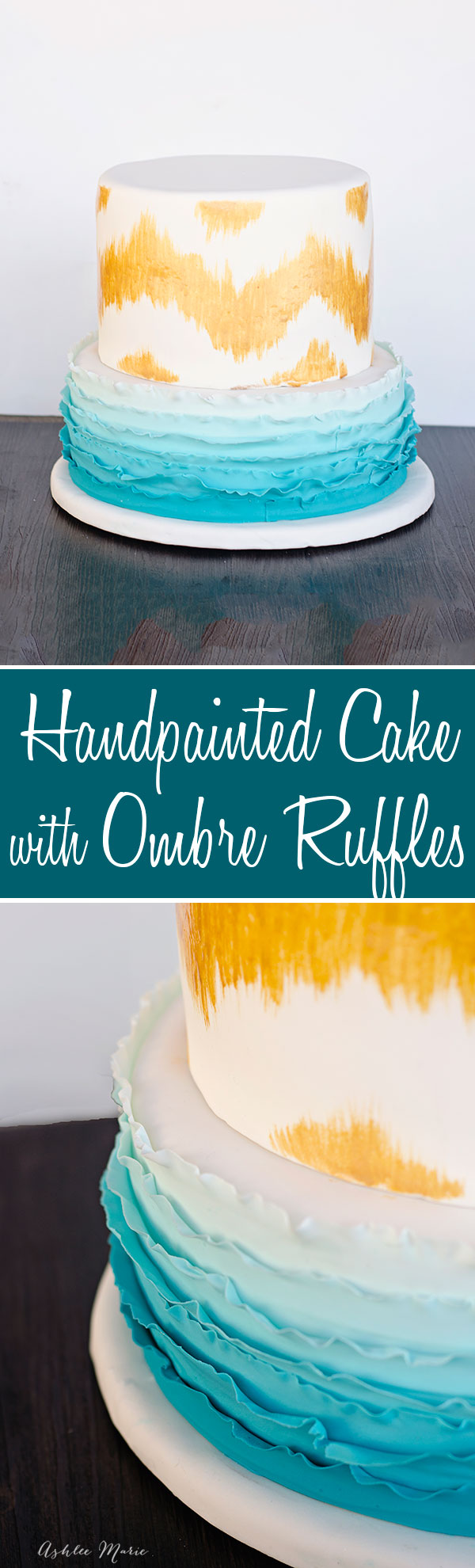 a hand painted birthday cake with ombre ruffles