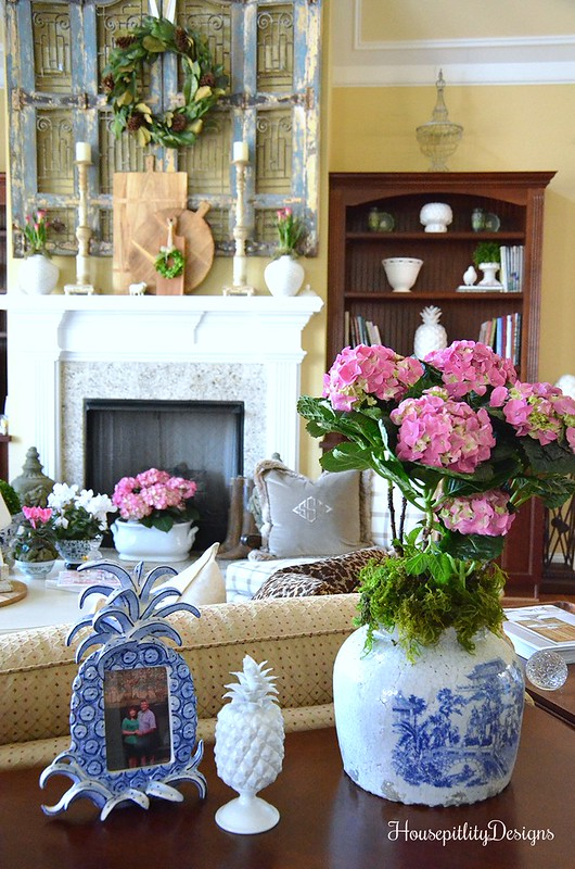 Great Room-Pink Accents/Flowers-Blue and White-Mantel-Housepitality Designs