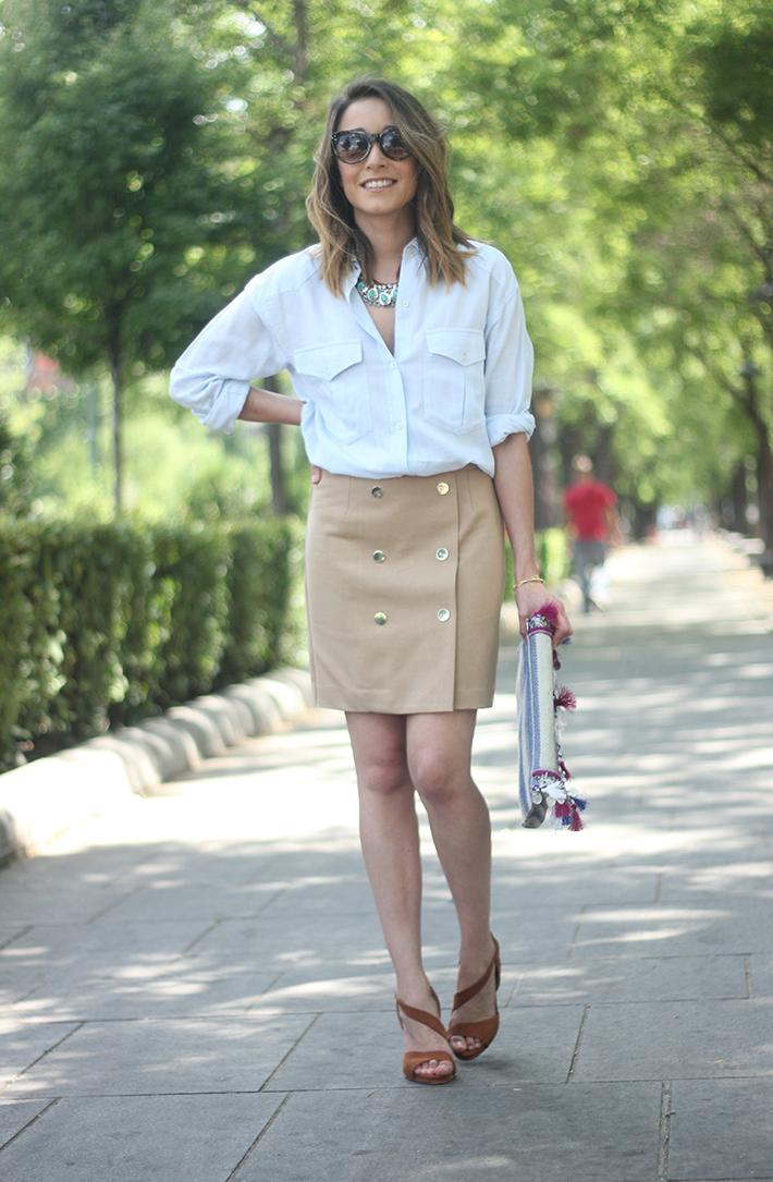 Beige Skirt With Blue Shirt02