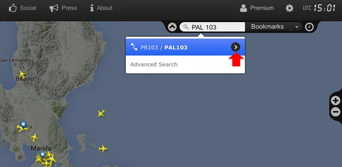 Check flight status using flightradar24 step 1