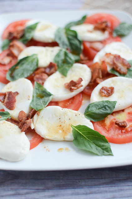 Caprese Salad with Warm Bacon Dressing