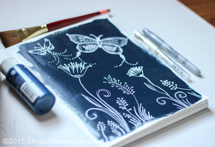 Art Journal - White on Navy
