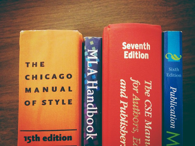 Photo of the spines of several style guides