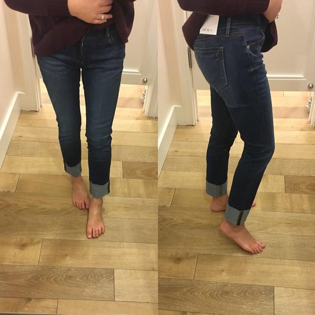 Curvy Frayed Cuff Straight Leg Jeans in Classic Dark Indigo Wash, size 25/0P