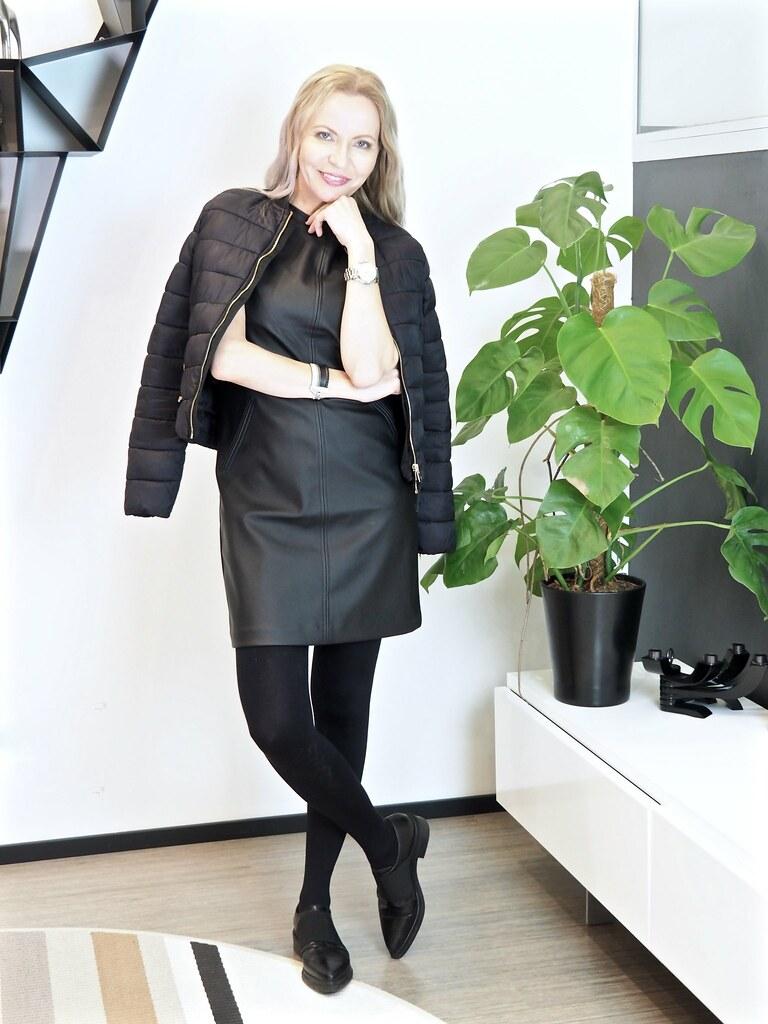 Oasis faux leather dress, Bershka jacket