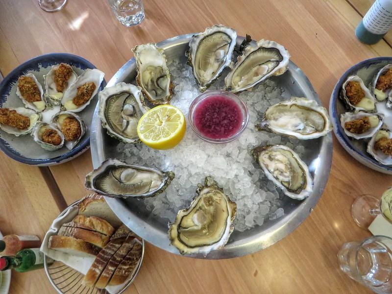 An oyster platter at Loch Fyne