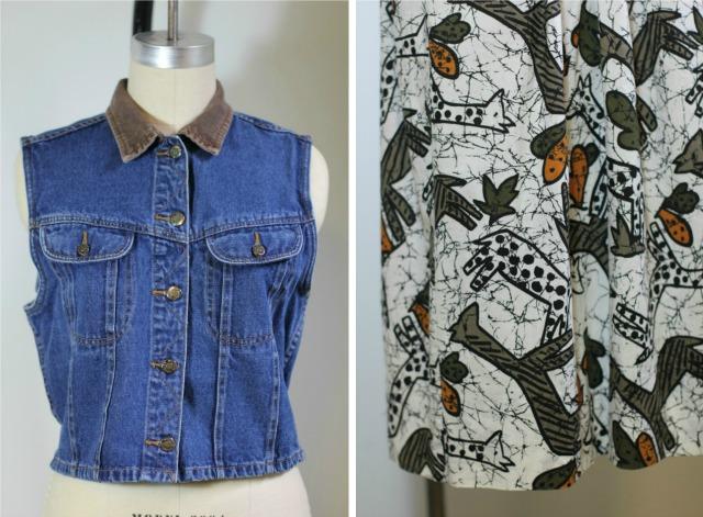 denim vest and tribal print skirt
