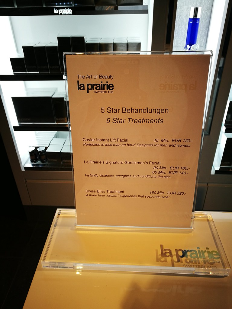 La Prairie treatment menu