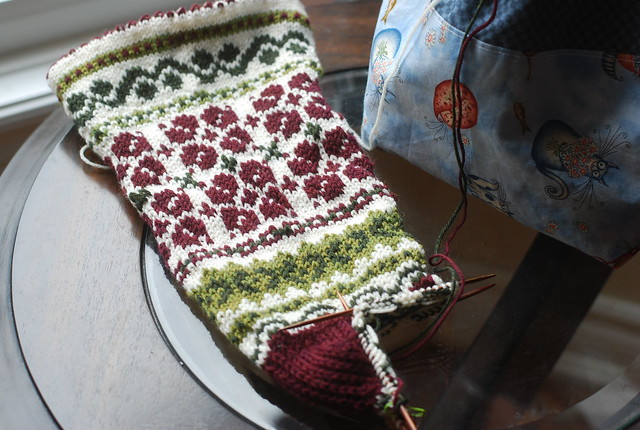 Handknitting Latvian motif Christmas stocking by irieknit