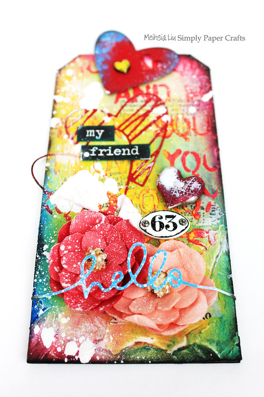 Meihsia Liu Simply Paper Crafts Mixed Media Tag Simon Says Stamp Monday Challenge Heart Love