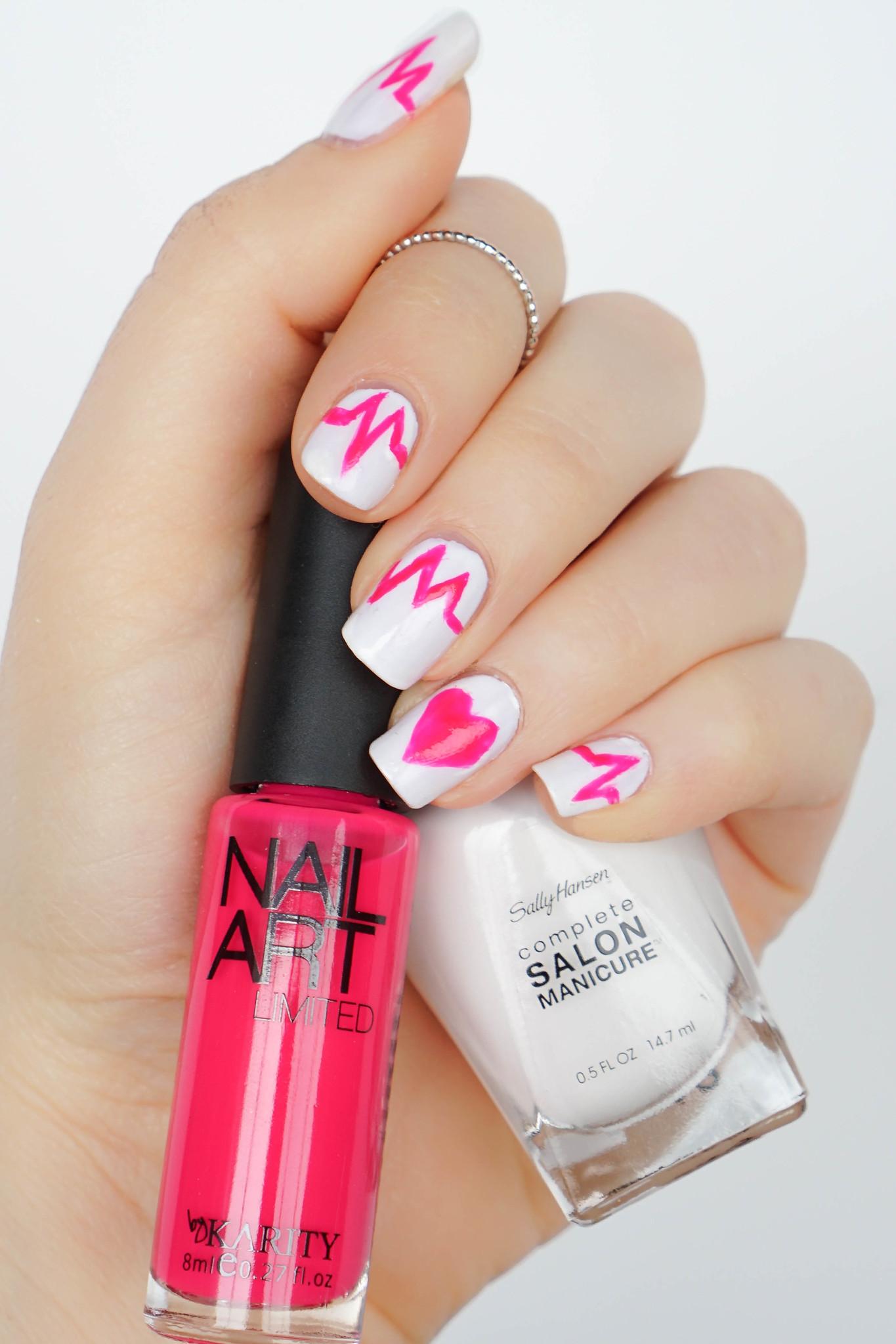 Hot Pink and White Heartbeat Nail Art