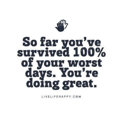 Survival Quote Poster: So far you've survived 100% of your worst days. You're doing great.