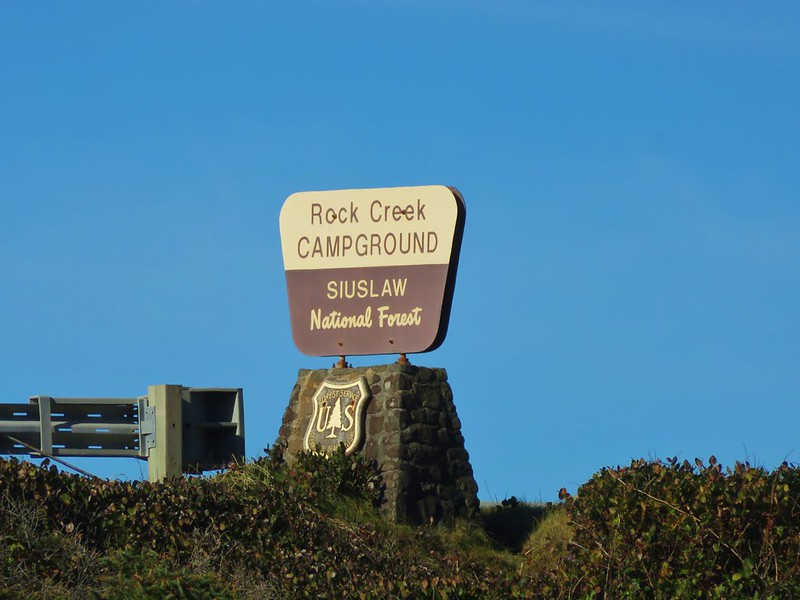 Rock Creek Campground sign along Highway 101