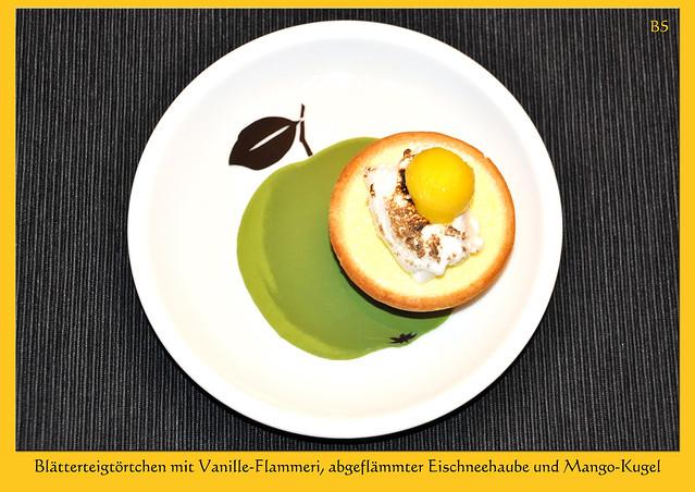 Lieblingsdesserts ... Blätterteigtörtchen mit Vanille-Flammeri, Mangokugel und abgeflämmter Eischnee-Haube ... Flambiergerät, Flambierbrenner ... Idee und Fotos: Brigitte Stolle, Mannheim 2017
