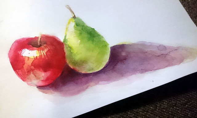 """Apple and pear"" Watercolour painting by Elaine Chen"