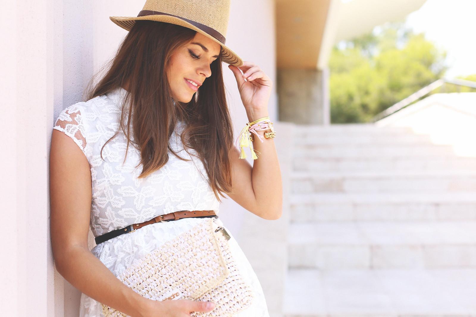 8. lace white short dress - jessie chanes - pregnancy