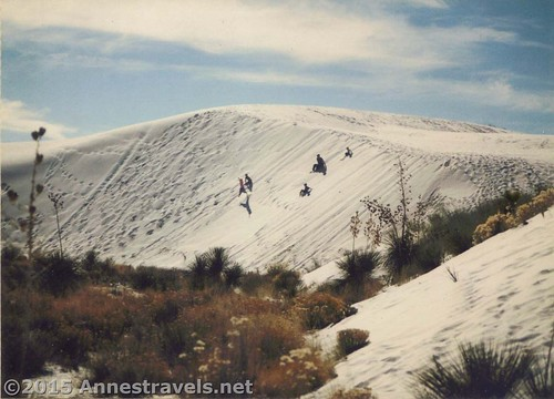 Jumping sand dunes in White Sands National Park in 1995. What is better than to be able to jump barefoot down a pile of something that looks like snow? New Mexico