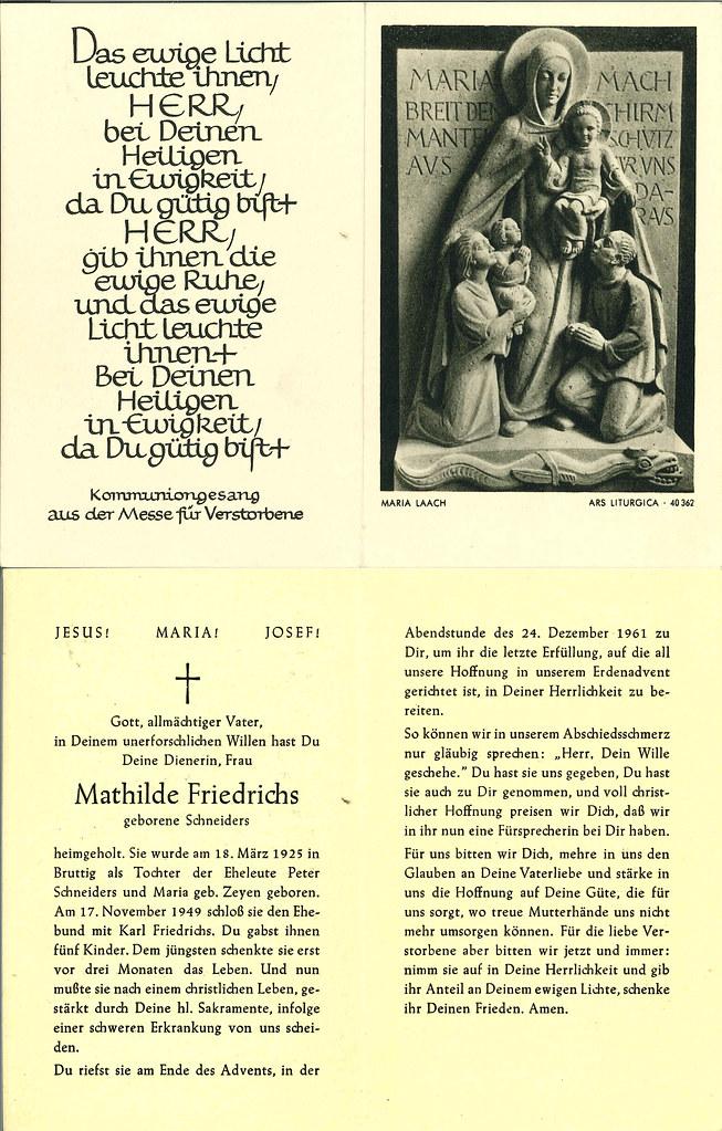 Totenzettel Schneiders, Mathilde † 24.12.1961