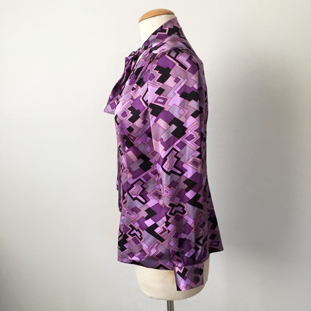 silk bow blouse side view