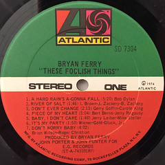 BRYAN FERRY:THESE FOOLISH THINGS(LABEL SIDE-A)
