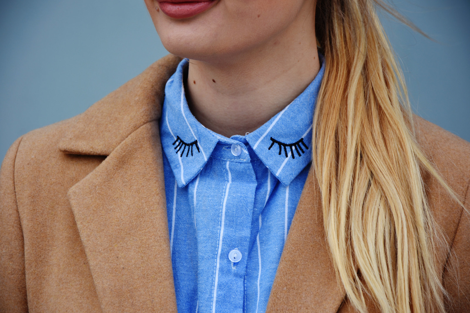 Lashes embroidery on collar