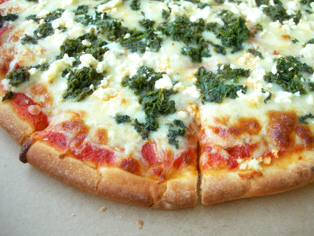 spinach and feta pizza from the best pizza place in