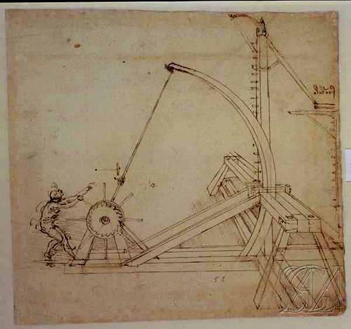 Grande catapulta o frombola foglio 141 recto mm 220 x for Catapulta di leonardo da vinci