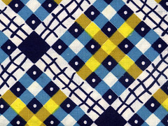 vintage fabric - navy and gold plaid | by kmel