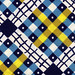 vintage fabric - navy and gold plaid