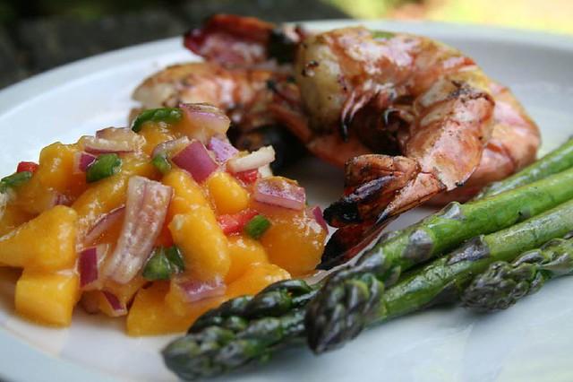 grilled brined shrimp with mango salsa   This was GOOOOOOD ...