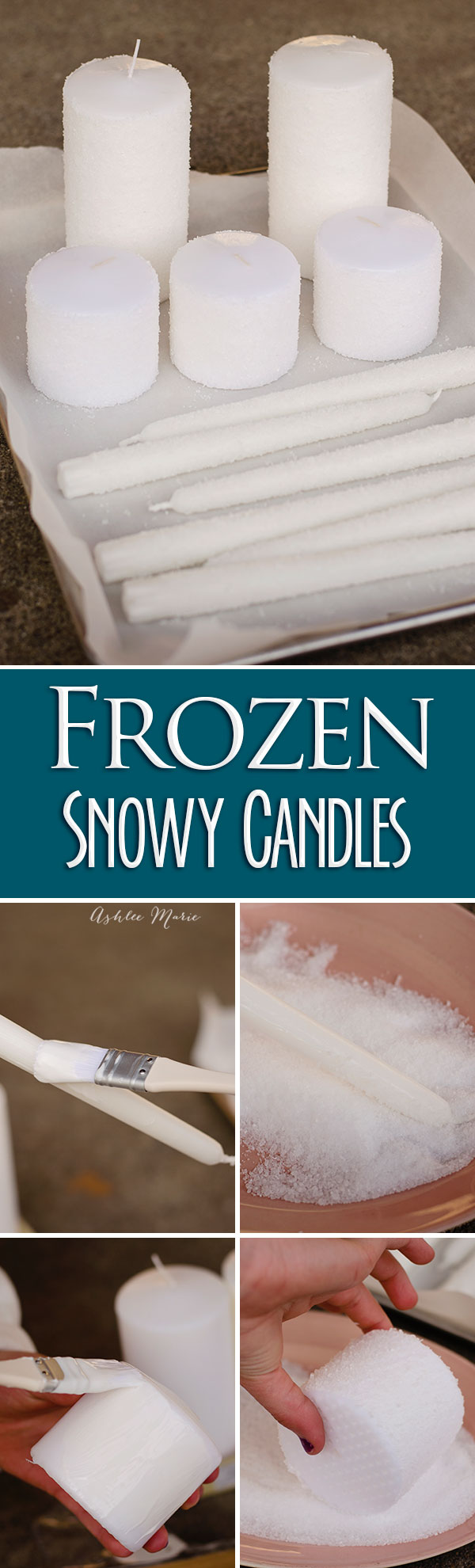 Its easy to use mod podge and epson salt to create a snowy look on your candles or other decorations