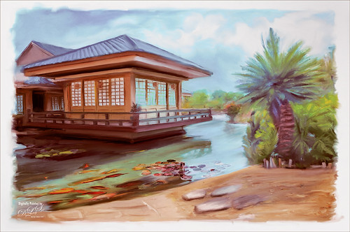 Painted image of the Japanese Restaurant at the Hilton Wikaloa Resort