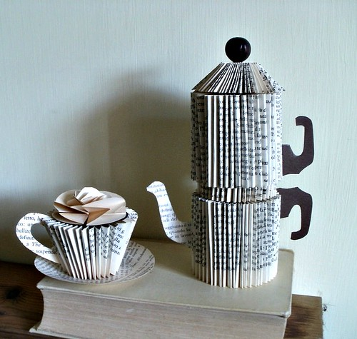 Neapolitan Coffee Maker Folded Book Sculpture by Clara Maffei
