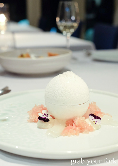 Coconut meringue with grapefruit at Bathers' Pavilion in Balmoral Sydney