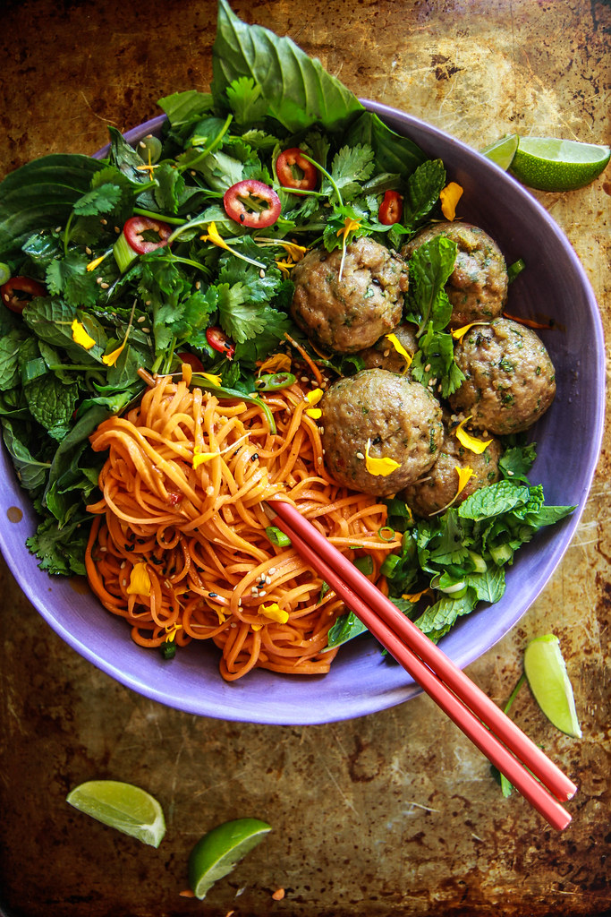 Paleo Asian Sweet Potato Noodles with Pork Ginger Meatballs from HeatherChristo.com