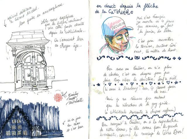 Strasbourg, sur le toit de la cathédrale - On taille la bavette avec François, gardien du temple, et des touristes Québécois. Savez-vous pour quelle rare occasion sonnent les cloches de Notre Dame du Québec ?